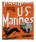 Teufel Hunden - German Nickname For Us Marines Fleece Blanket