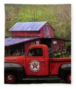Texaco Truck On A Smoky Mountain Farm In Colorful Textures  Fleece Blanket