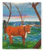Texas Cow's Blulebonnet Field Fleece Blanket