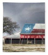 Texas Flag Barn #4 Fleece Blanket
