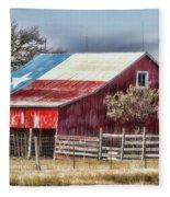 Texas Flag Barn #6 Fleece Blanket
