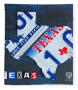 Texas License Plate Map Fleece Blanket