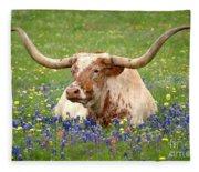 Texas Longhorn In Bluebonnets Fleece Blanket
