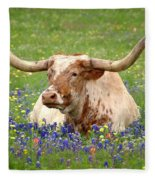 Texas Longhorn In Bluebonnets Fleece Blanket