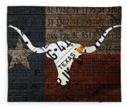 Texas Longhorn Recycled Vintage License Plate Art On Lone Star State Flag Wood Background Fleece Blanket