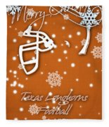 Texas Longhorns Christmas Card Fleece Blanket