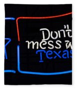 Texas Neon Sign Fleece Blanket