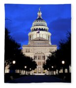 Texas State Capitol Floodlit At Night, Austin, Texas - Stock Image Fleece Blanket