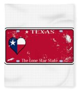 Texas State License Plate With Damage Fleece Blanket