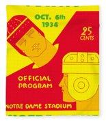 Texas Vs Notre Dame 1934 Program Fleece Blanket