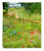 Texas Wildflowers And Cactus - Country Road Fleece Blanket