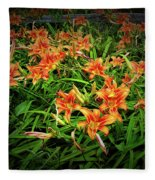 Texture Drama Field Of Tiger Lilies Fleece Blanket