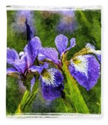 Textured Bearded Irises Fleece Blanket