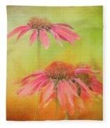 Textured Orange Daisies Fleece Blanket
