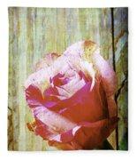 Textured Pink Red Rose Fleece Blanket