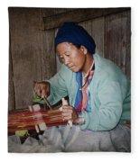 Thai Weaving Tradition Fleece Blanket