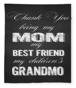 Thank You Mom Chalkboard Typography Fleece Blanket