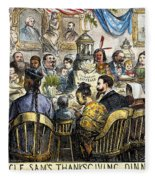 Thanksgiving Cartoon, 1869 Fleece Blanket