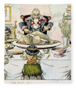 Thanksgiving Cartoon, 1898 Fleece Blanket