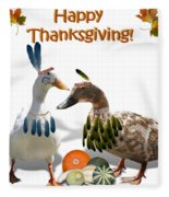Thanksgiving Indian Ducks Fleece Blanket