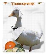 Thanksgiving Pilgrim Duck Fleece Blanket