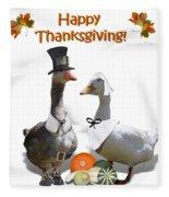 Thanksgiving Pilgrim Ducks Fleece Blanket
