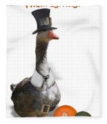 Thanksgiving Pilgrim Goose Fleece Blanket