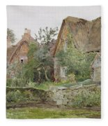 Thatched Cottages And Cottage Gardens Fleece Blanket