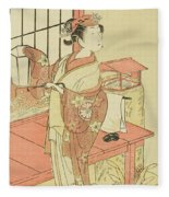 The Actor Segawa Kikunojo II, Possibly As Princess Ayaori In The Play Ima O Sakari Suehiro Genji  Fleece Blanket
