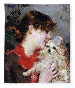 The Actress Rejane And Her Dog Fleece Blanket