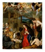 The Adoration Of The Shepherds Fleece Blanket by Fray Juan Batista Maino or Mayno