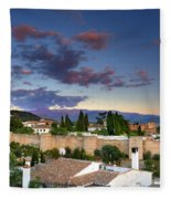 The Alhambra Palace And Albaicin At Sunset Fleece Blanket