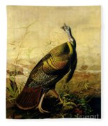 The American Wild Turkey Cock Fleece Blanket