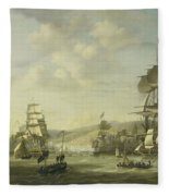 The Anglo Dutch Fleet In The Bay Of Algier Fleece Blanket
