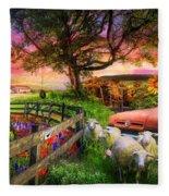 The Appalachian Farm Life In Beautiful Morning Light Fleece Blanket