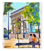The Arc De Triomphe Paris Fleece Blanket