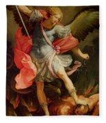 The Archangel Michael Defeating Satan Fleece Blanket