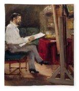 The Artist Morot In His Studio Fleece Blanket