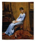 The Artist Wife And His Setter Dog 1889 Fleece Blanket
