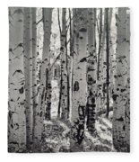 The Aspen Forest In Black And White  Fleece Blanket