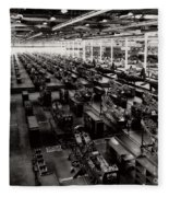 The Assembly Plant Of The Bell Aircraft Corporation In 1944 Fleece Blanket