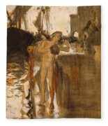 The Balcony, Spain Two Nude Bathers Standing On A Wharf Fleece Blanket