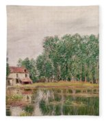 The Banks Of The Canal At Moret Sur Loing Fleece Blanket
