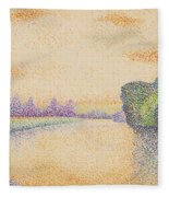 The Banks Of The Marne At Dawn 1888 Fleece Blanket