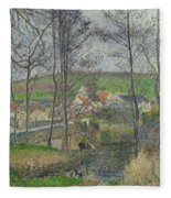 The Banks Of The Viosne At Osny In Grey Weather, Winter Fleece Blanket