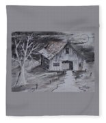 The Barn Country Pen And Ink Drawing Fleece Blanket