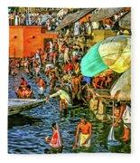 The Bathing Ghats Fleece Blanket