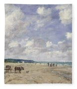 The Beach At Tourgeville Fleece Blanket