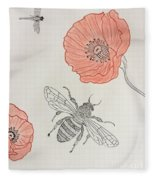 The Bee And Red Poppies  Fleece Blanket