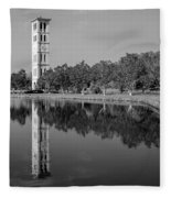 The Bell Tower Reflections B W Furman University Greenville South Carolina Art Fleece Blanket